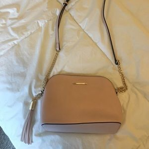 Light Pink Satchel Purse With Gold Detail